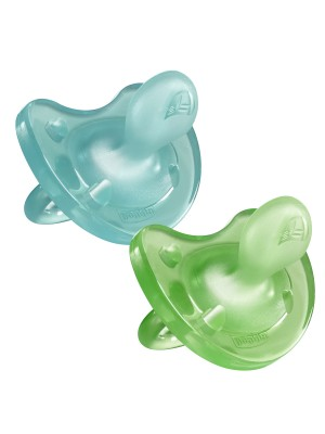 Soother Physio Soft Boy Silicone: 6-12months (2pc) Blue or Green & Clear, , , .